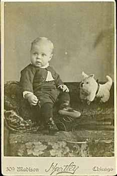 Little Guy with Dog Pull Toy C.1880's - Great..  I need to look at who took our Greatparents photo's?