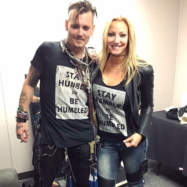 """Epic """"Who wore it best"""" from exactly a year ago today- Johnny Depp and myself, both wearing @beverlykillsca Stay Humble or Be Humbled at a @hollywoodvampires show! I wear this shirt on stage all the time and seeing Johnny wear it with the Vampires was so cool.. the message definitely hits home with a lot of people in different industries. Check out their awesome shirts at www.beverlykills.com and make sure to follow their IG @beverlykillsca!  #waybackwednesday  #johnnydepp #hollywoo..."""