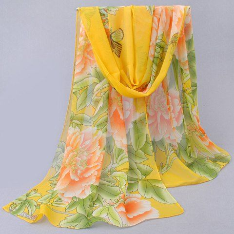 Chic Peony Pattern Print Gradient Color Scarf For Women