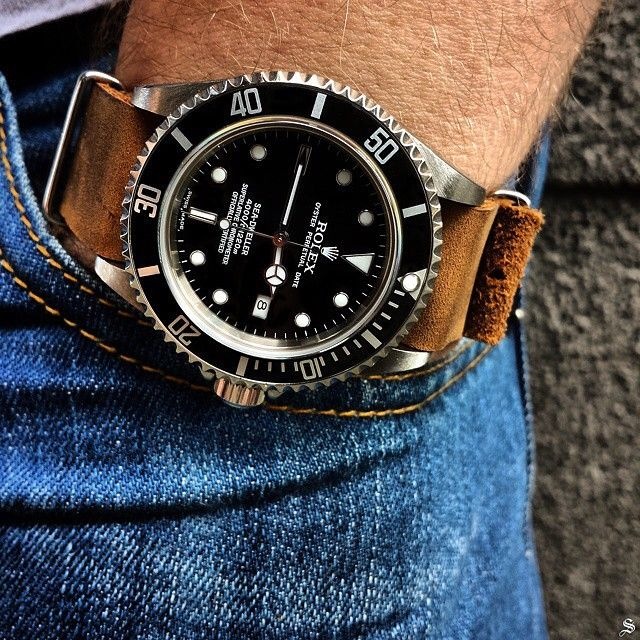 Rolex Sea-Dweller 16600 on nato strap. Not a big Rolex fan but this looks cool.