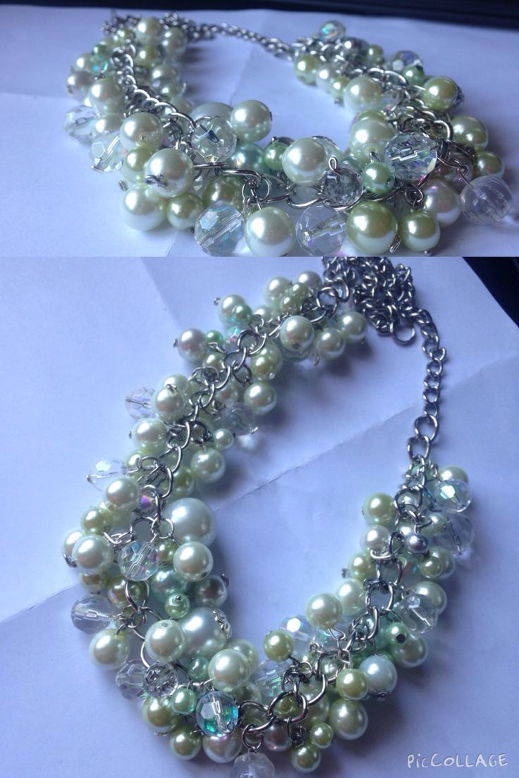 pearl necklace and white crystals, this ideal for any bride design, 18 inches and finished in a silver chain. a refreshing piece