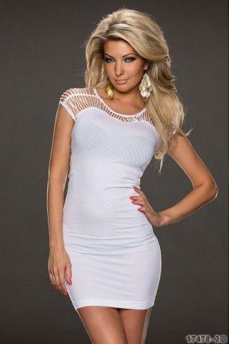 Μίνι φόρεμα με κοψίματα-Άσπρο