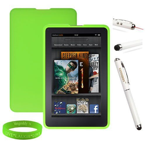 Amazon Kindle Fire Accessories Kit, Bundle Includes: Lime Green Dust Resistant Kindle Fire Skin Cover + Multifunctional Kindle Fire Stylus Pen (Accurate Stylus, Laser Pointer, & LED Light) + Vangoddy tm Live * Laugh * Love Wrist Band!!! by VG. $12.99. Personalize and protect your Kindle Fire Tablet!!!Form fitting thick skin made of durable high grade silicone provides protection by preventing scratches, chips and finger prints. Silicone skin is anti-dust to pr...