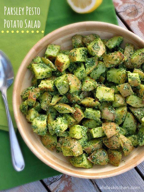 Parsley Pesto Potato Salad | alidaskitchen.com #recipes #SundaySupper