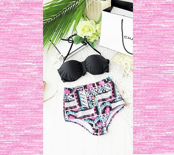 Aztec High Waist Bikini-Retro Swimsuit-tribal high waisted  swimsuit - vintage bathing suit-2 pcs