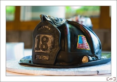 "I love the shading that causes the ""tattered"" look---Groom's Cake: Fireman's Hat"