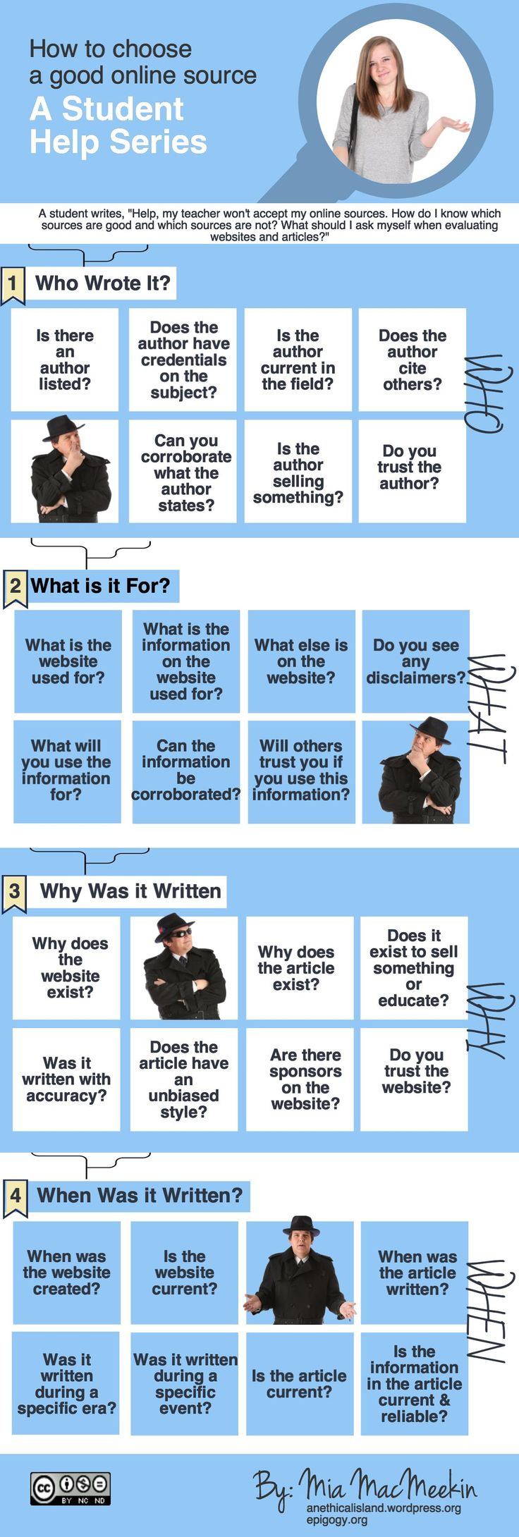 "Students often ask how to determine which websites and articles are good sources to cite. My answer is always, ""Well, what do you think?"" Students need to be able to think on their own. So, if your..."