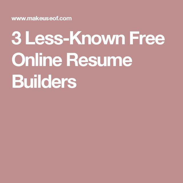 3 less known free online resume builders
