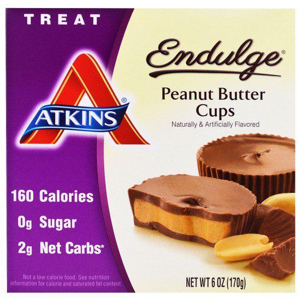 Atkins, Endulge, Арахисовое масло в чашках, 5 упаковок, 1.2 унций (34 г) каждая
