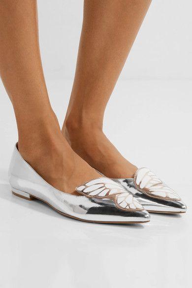 Sophia Webster - Bibi Butterfly Appliquéd Metallic Leather Flats - Silver - IT35.5