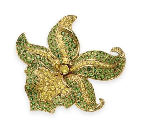 A YELLOW SAPPHIRE AND TSAVORITE GARNET ORCHID BROOCH, BY TIFFANY & CO.: Garnet Orchids, Brooches Pin, Orchids Jewelry, Yellow Sapphire, Bezel Sets Yellow, Garnet Petals, Tsavorit Garnet, Orchids Brooches, 18K Gold