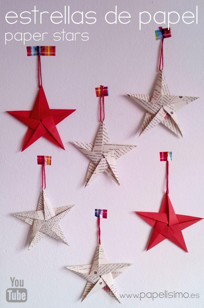 C mo hacer estrellas de papel cinco puntas para el rbol - Estrella para arbol de navidad ...