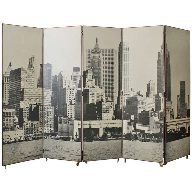 Vintage Manhattan Skyline Folding Screen | From a unique collection of antique and modern screens at https://www.1stdibs.com/furniture/more-furniture-collectibles/screens/