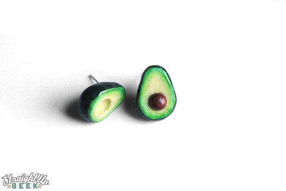 Avocado oorbellen Avacado klein voedsel van StraightUpGeek op Etsy
