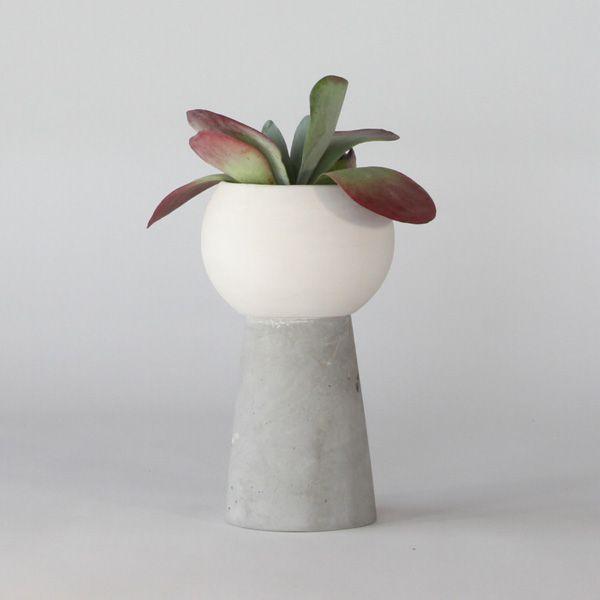 SC50-ceramic and concrete pot - White matte ceramic + grey matte concrete vase + pot. High quality handmade objects Designed+Made by Decovery | Essential Details.