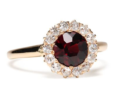 antique garnet diamond cluster ring beautiful would love this as an engagement ring - Garnet Wedding Rings