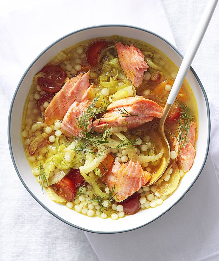 Vegetable Soup With Pearl Couscous and Salmon | Israeli couscous (a.k.a. pearl couscous) is really a tiny, toasted pasta, and when tossed raw into soups, it cooks in 10 minutes flat.