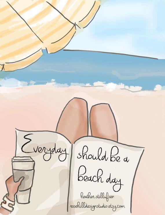 Kunst Kunst-Sommer Sommer Strand jeden von RoseHillDesignStudio