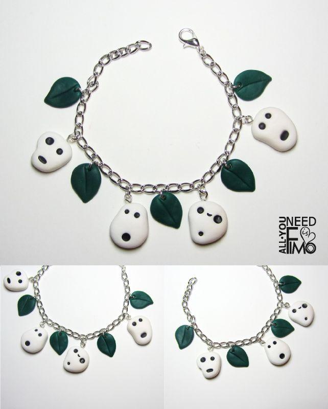 Bracelet with inspired by Kodama from Princess Mononoke fimo charms, now in my Etsy Shop! INFO: https://www.facebook.com/AllYouNeedIsFimo/photos/a.937250929688782.1073741828.932013750212500/1195950247152181/?type=3&theater \/ #fimo #polymerclay #artigianato #fattoamano #handmade #jewelry #gioielli #bracciale #bracelet #charms #ciondoli #kodama #spirits #princessmononoke #studioghibli #miyazaki #japan #anime #otaku #otakuworld #etsy #allyouneedisfimo #kawaii #etsyfinds #etsysellersofinstagram