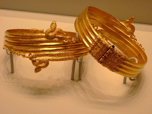 Gold arm ornaments probably made in Alexandria Egypt for a noble of the Ptolemaic dynasty Greek 220-100 BCE