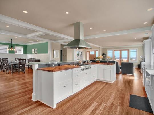 bamboo floor with white cabinets All About:  Bamboo Flooring    Kitchen Flooring Spotlight