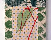 Hand Printed Patchworked Textile Picture with Eucalyptus Leaves