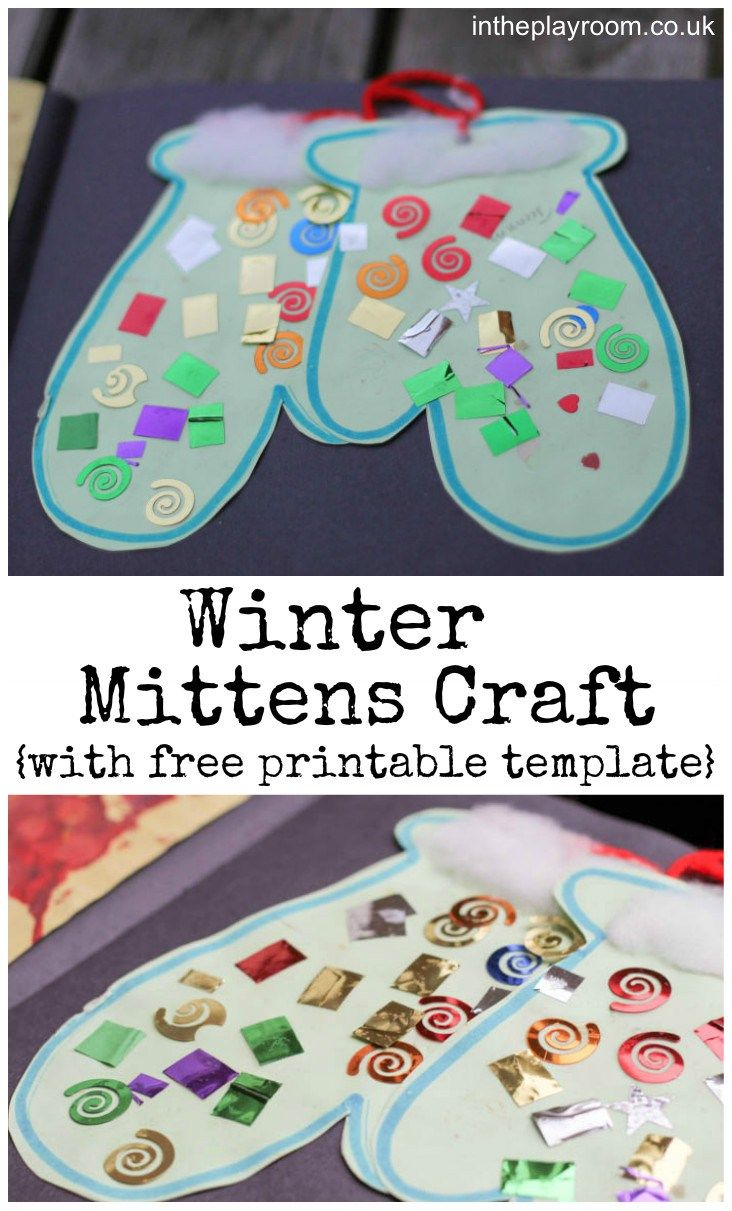 Winter Mittens Craft for kids, with free printable template