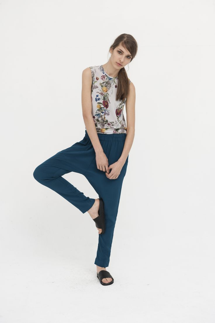 Sidewalk Silk Pants, Petrol Blue