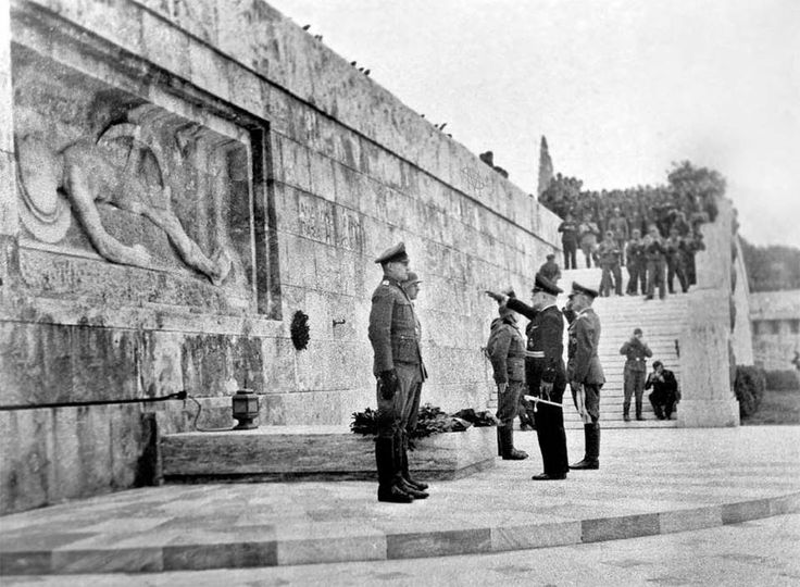 Athens, Greece, German Occupation, 1941-44: Nazi officers lay a wreath at the Tomb of the Unknown Soldier right below the Greek Parliament building. Insult added to injury.