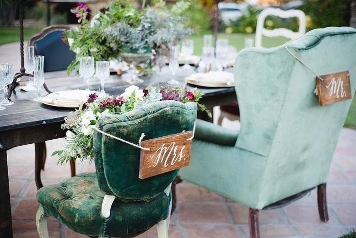 """Unique, vintage-inspired wedding chair decor idea - mix and match velvet vintage chairs with hand-painted, modern calligraphy """"Mr."""" and """"Mrs."""" wood signs {Weddings by Amy Millard}"""