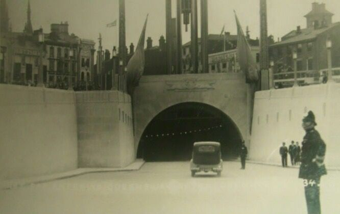 First car through the Mersey tunnel after it opened in 1934