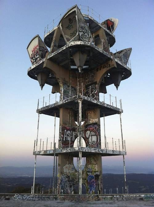 Cold War Era microwave relay tower in the Santa Monica Mountains overlooking nearly all of Los Angeles County