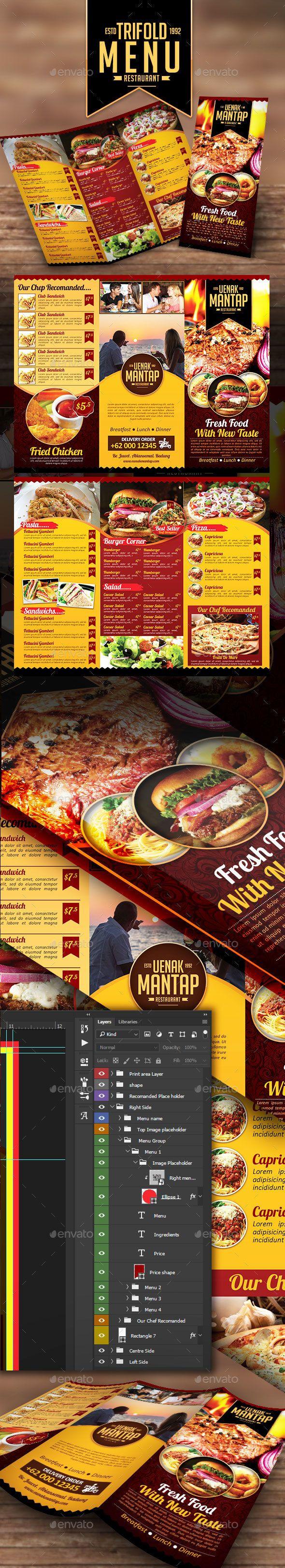 #Restaurant Tri Fold Menu  - Restaurant #Flyers Download here: https://graphicriver.net/item/restaurant-tri-fold-menu-/17053162?ref=alena994