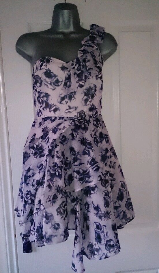 NEW Topshop Purple Lilac Floral Flower One Shoulder Ruffle Chiffon Party Dress