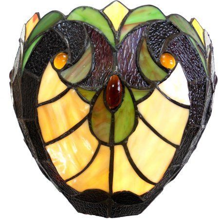Chloe Lighting Liaison Tiffany-Style 1-Light Victorian Wall Sconce, 10 inch Wide, Multicolor
