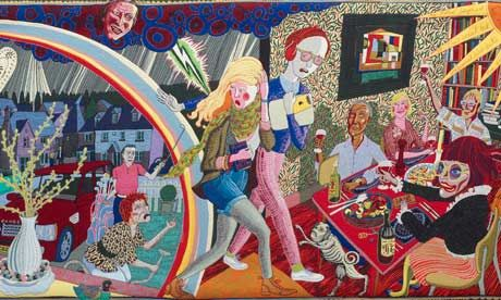 Hogarth revisited: Grayson Perry uses tapestries to tackle taste and class    Latest artworks recall 18th-century satire with a modern twist. Charlotte Higgins even spots herself in the weave