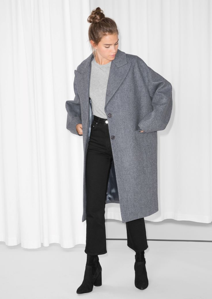 & Other Stories - Wool Blend Oversized Coat in Grey