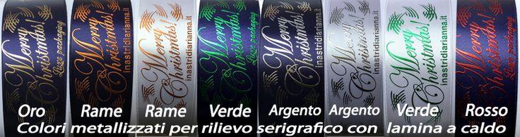 Alcuni nostri abbinamenti di stampa in serigrafia a rilievo con laminatura a caldo di colori metallizzati, per nastri di lusso, per un packaging esclusivo.