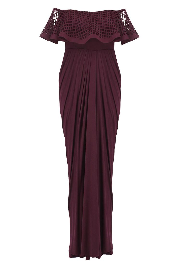 Maroon ruffled laser cutwork drape saree available only at Pernia's Pop Up Shop.