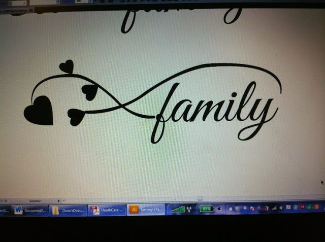 Family tattoo I created for a friend. She wanted family and four hearts for her loves ones. Loved this design the most! Infinity symbol ties it all together!