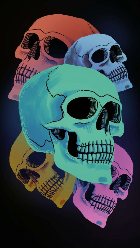 Five Dead Skull iPhone Wallpaper