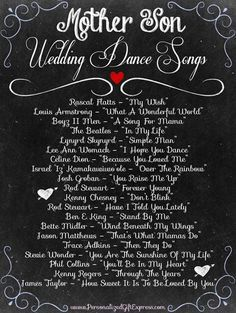 Mother Son Wedding Dance Songs