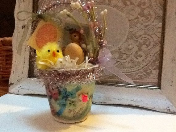 Shabby chic Easter peat pot Basket by VintageAnteUps on Etsy, $15.00