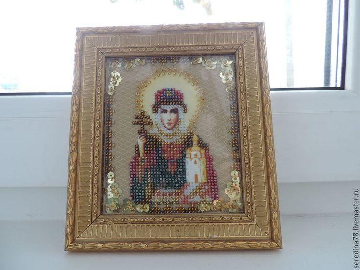 Купить Святая Ольга - бежевый, Вышивка бисером, икона в подарок, Ольга, святая ольга, холст