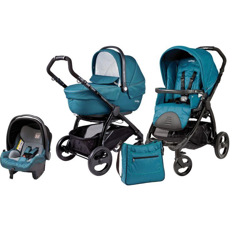 poussette trio turquoise