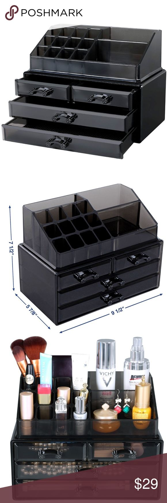 Makeup Organizer ‍✨ Makeup organizer with 4 drawers, it display with 15 top compartments, and 2 pieces set black UJMU04B - It Makes your cosmetics look tidy and looks great on your vanity -Hold at least 20 lipsticks, 10 brushes, 5 face powders, 5 mascaras, 5 eye liners, 2 large shadow palettes and other small everyday collection, tidy up your dresser -High quality material for long time use; Easy to clean by wet cloth or water - So get it honey SONGMICS