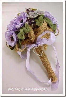 bouquet da sposa in fiori di stoffa, lino, feltro e raso