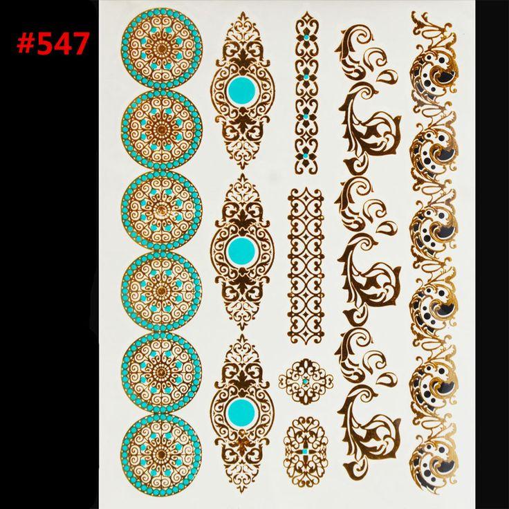 Gaya seni tubuh lukisan tato berkilauan Logam emas perak flash tato temporer Pakai indians tato tato
