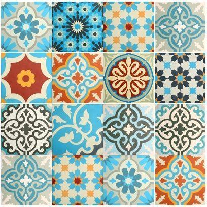 VN Patchwork Blauw tinten Zementfliesen von Designfliesen.de