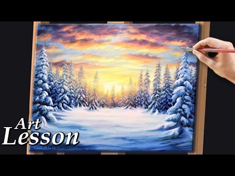 Painting A Realistic Winter Landscape At Sunset You Acrylic Lessonsacrylic